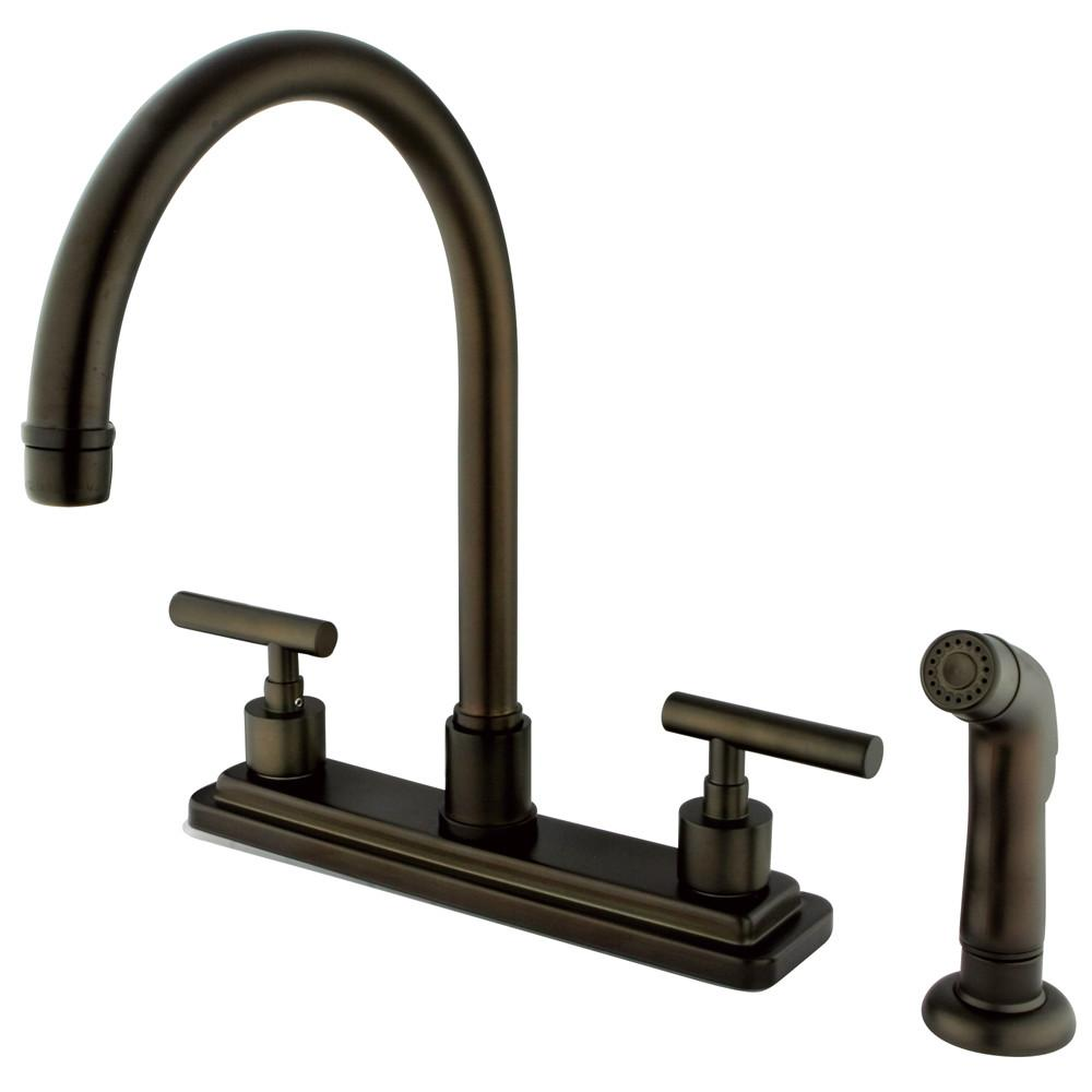 "Kingston Oil Rubbed Bronze Manhattan 8"" kitchen faucet with sprayer KS8795CML"