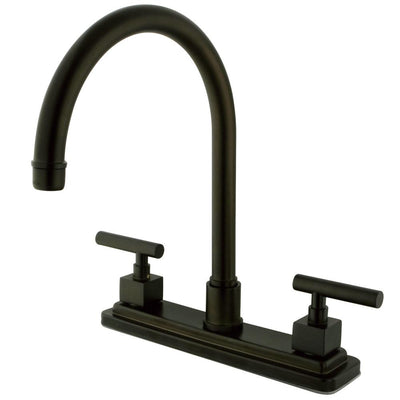 "Kingston Brass Claremont Oil Rubbed Bronze 2 hdl 8"" Kitchen Faucet KS8795CQLLS"