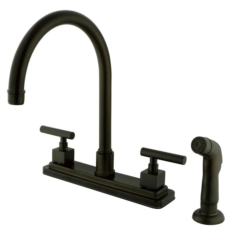 Medium image of claremont oil rubbed bronze 2 hdl 8   kitchen faucet matching sprayer ks8795cql