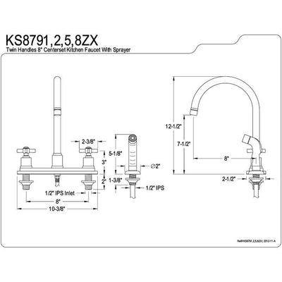 "Kingston Brass KS8795ZX 8"" Centerset Kitchen Faucet Oil Rubbed Bronze"