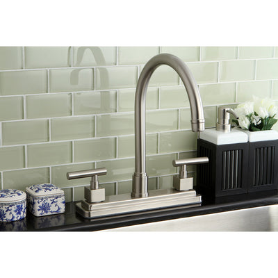"Kingston Brass Claremont Satin Nickel Two handle 8"" Kitchen Faucet KS8798CQLLS"