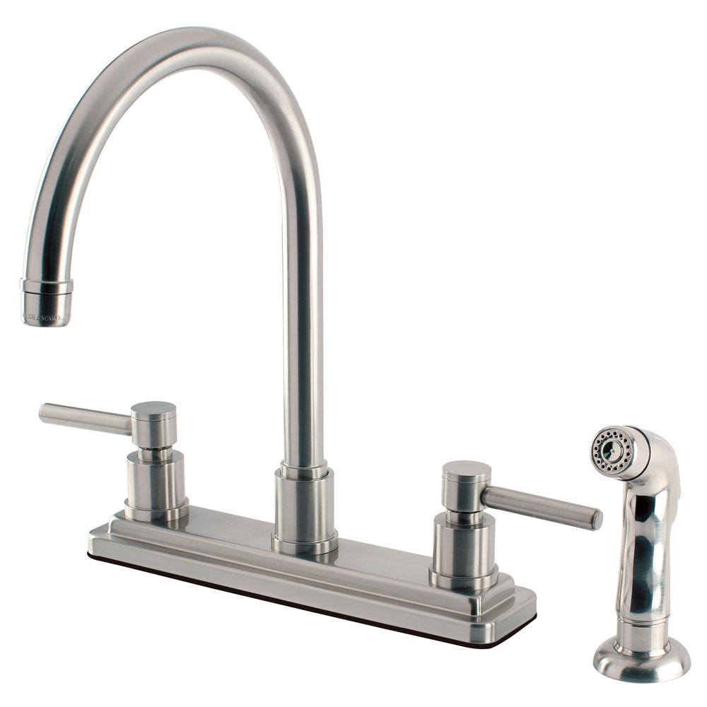 Kingston Brass Concord Satin Nickel 2 Handle Kitchen Faucet w/ Sprayer KS8798DL