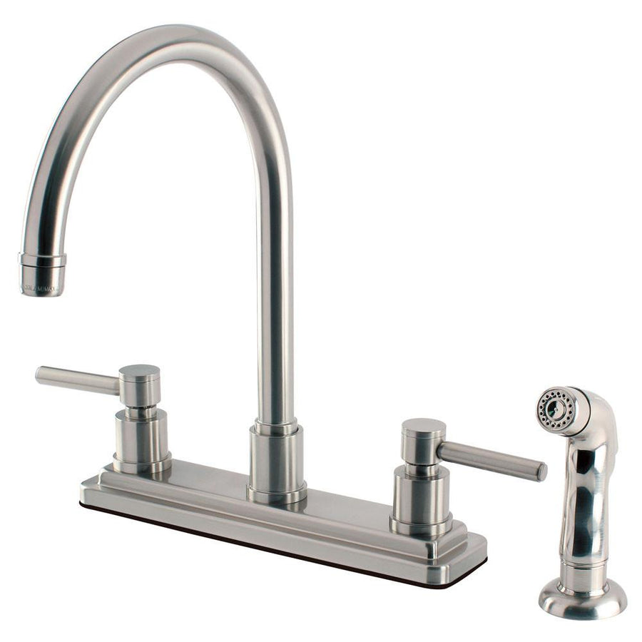 4 hole kitchen faucets get a four hole kitchen sink faucet kingston brass concord satin nickel 2 handle kitchen faucet w sprayer ks8798dl