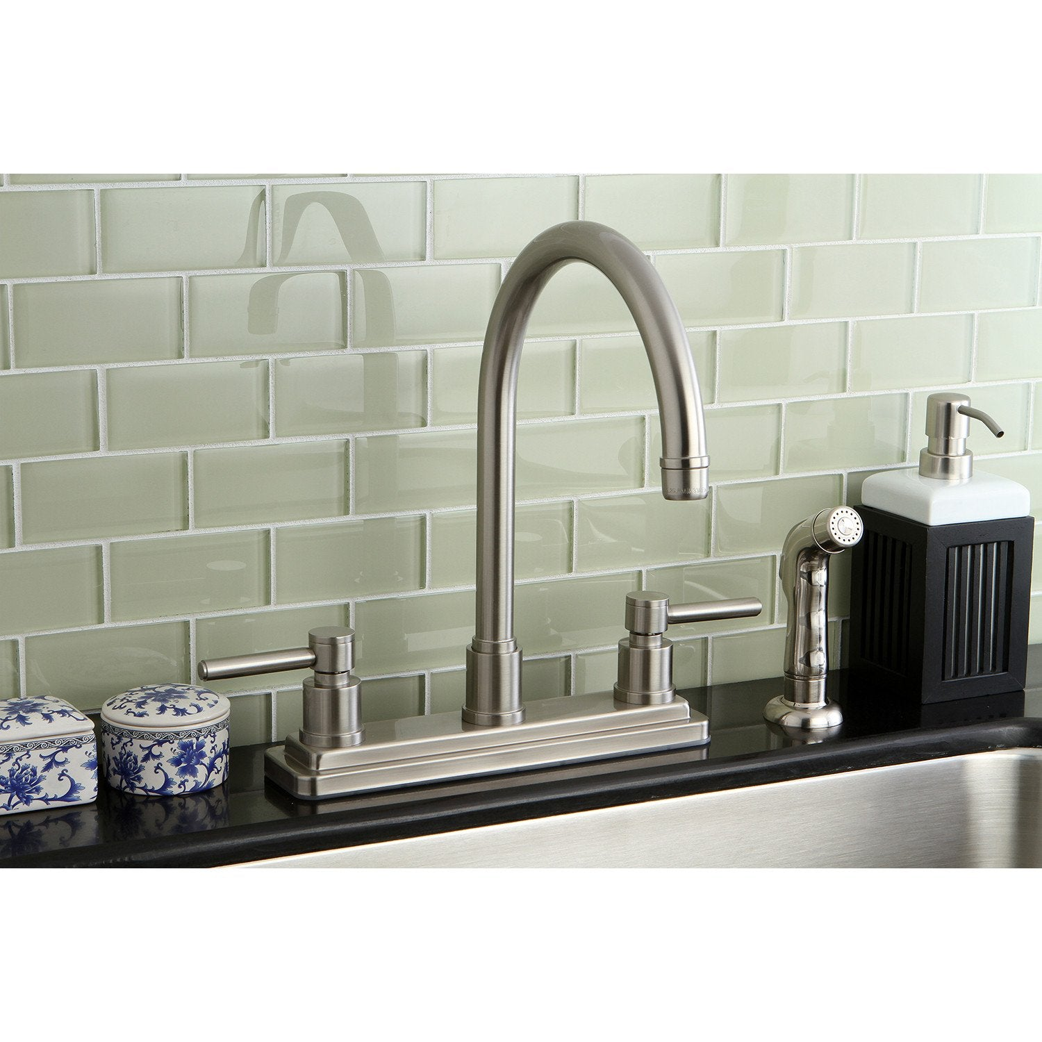 Kingston Brass Concord Satin Nickel 2 Handle Kitchen Faucet w ...