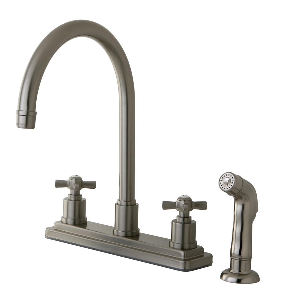 "Kingston Brass KS8798ZX 8"" Centerset Kitchen Faucet Satin Nickel"