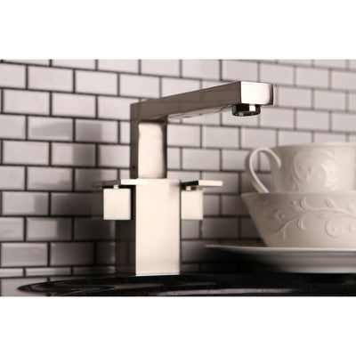 Kingston Brass Satin Nickel Double Handle Kitchen Faucet KS8848QLL