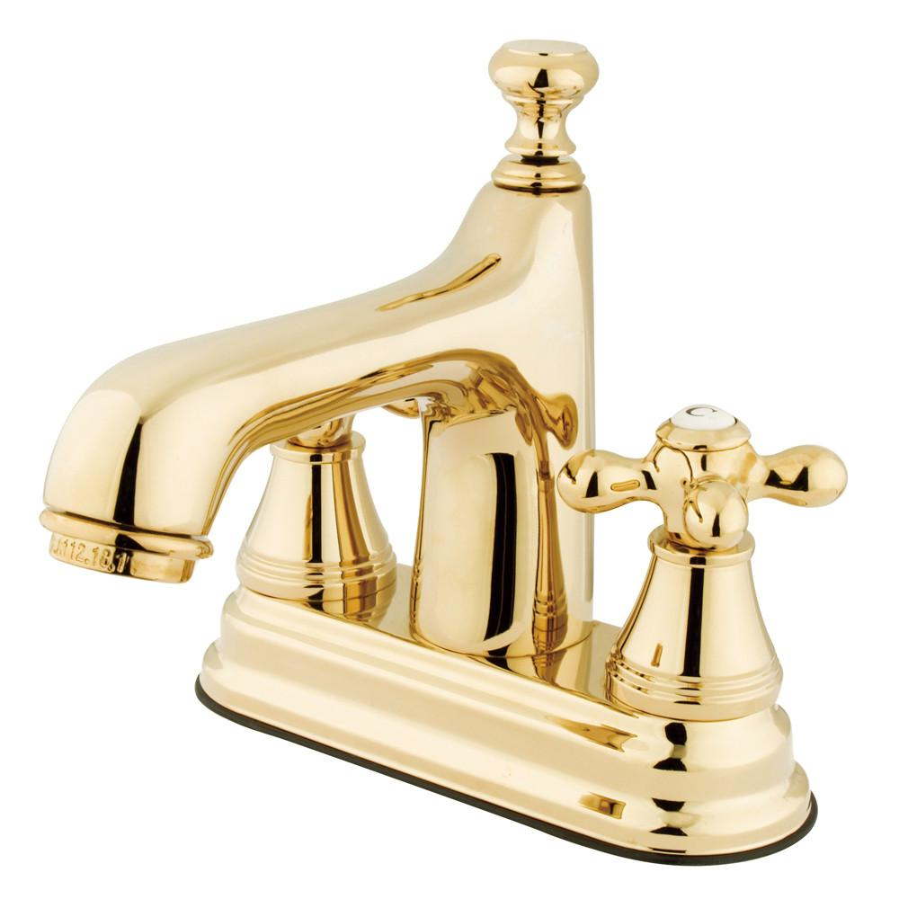 "Kingston Polished Brass 2 Handle 4"" Centerset Bathroom Faucet w Pop-up KS9612AX"