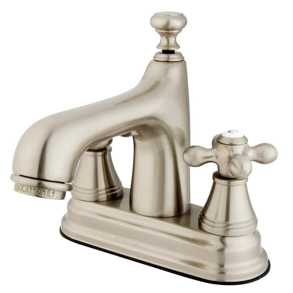 "Kingston Satin Nickel 2 Handle 4"" Centerset Bathroom Faucet w Pop-up KS9618AX"