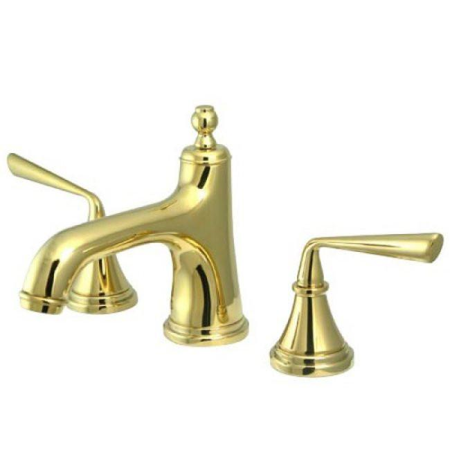 Kingston Silver Sage Polished Brass Widespread Bathroom Lavatory Faucet KS9962ZL