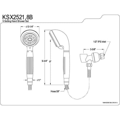 Kingston Brass Satin Nickel 5 Setting Hand Shower Head Faucet with Hose KSX2528B