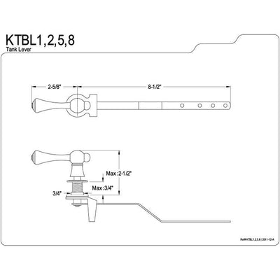 Kingston Brass Chrome Buckingham Toilet Tank Flush Handle Lever KTBL1