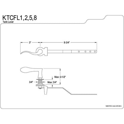 Kingston Brass Century Satin Nickel Toilet Tank Flush Lever KTCFL8
