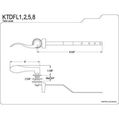 Kingston Brass Satin Nickel NuWave Toilet Tank Flush Handle Lever KTDFL8