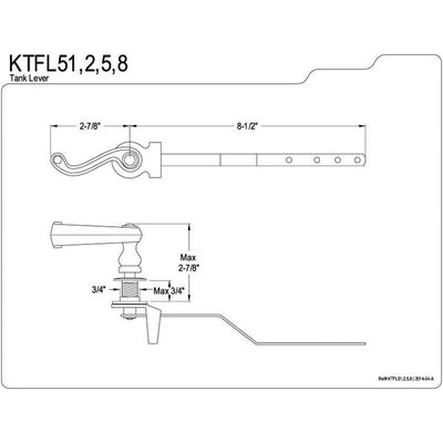 Kingston Brass Polish Brass Royale Toilet Tank Flush Handle Lever KTFL52