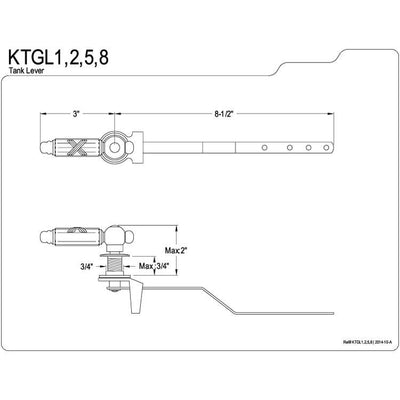 Kingston Brass Satin Nickel Georgian toilet tank flush handle lever KTGL8