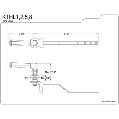 Kingston Brass Satin Nickel Metropolitan Toilet Tank Flush Handle Lever KTHL8