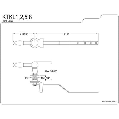 Kingston Brass Satin Nickel Knight Toilet Tank Flush Handle Lever KTKL8