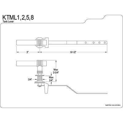 Kingston Brass Satin Nickel Milano Toilet Tank Flush Handle Lever KTML8