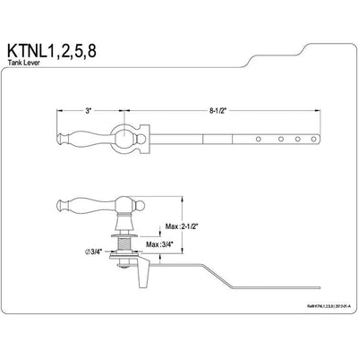 Kingston Brass Satin Nickel Naples Toilet Tank Flush Handle Lever KTNL8