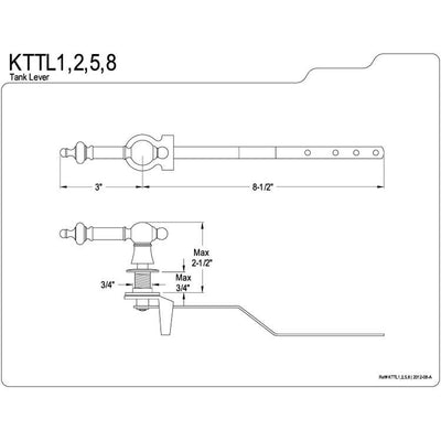 Kingston Brass Chrome Templeton Toilet Tank Flush Handle Lever KTTL1