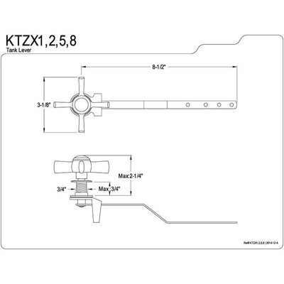 Kingston Brass KTZX8 Toilet Tank Handle Flush Lever Satin Nickel