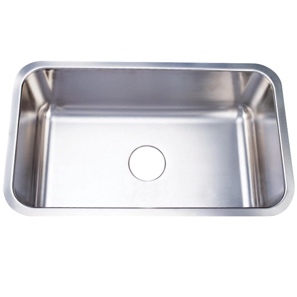 Brushed Nickel Gourmetier Single Bowl Undermount Kitchen Sink KU311810BN