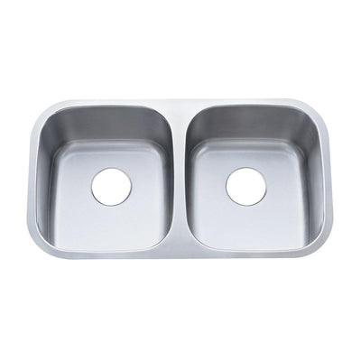 Brushed Nickel Gourmetier Double Bowl Undermount Kitchen Sink KU32188DBN