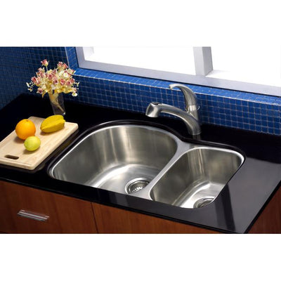 Brushed Nickel Centurion Double Bowl Undermount Kitchen Sink KU322097DBN