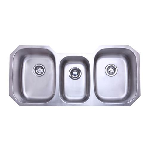 Kingston Brushed Nickel Denver Triple Bowl Undermount Kitchen Sink KU5021969TBN