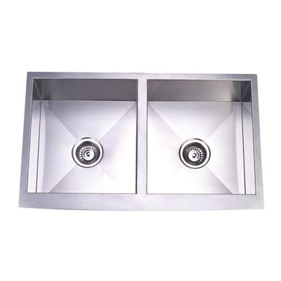 Brushed Nickel Double Bowl Farmhouse Undermount Kitchen Sink KUF332010DBN