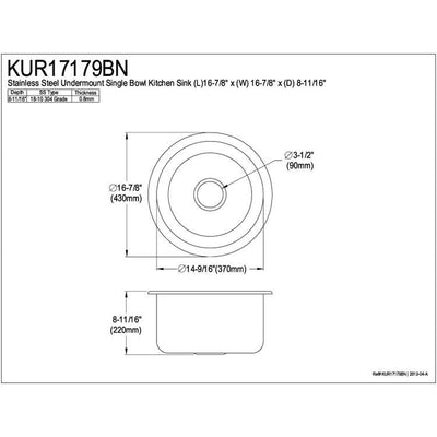 Kingston Brushed Nickel Single Bowl Round Undermount Kitchen Sink KUR17179BN