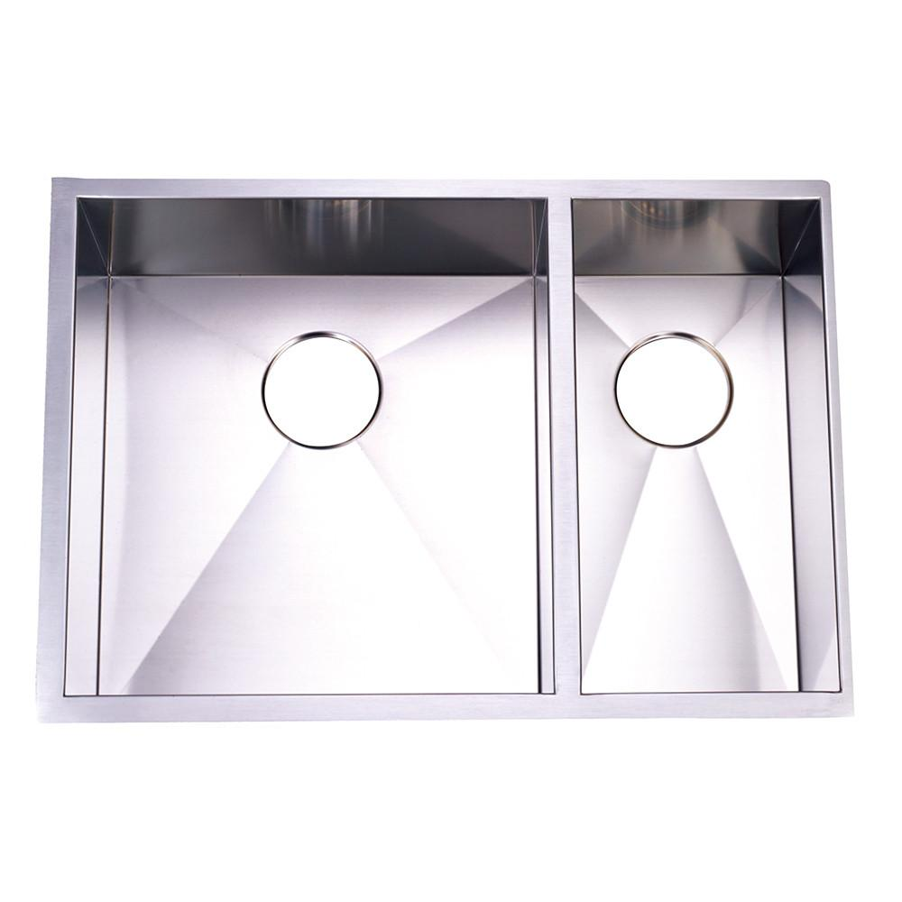 Brushed Nickel Gourmetier Double Bowl Undermount Kitchen Sink KUS292010DBNL