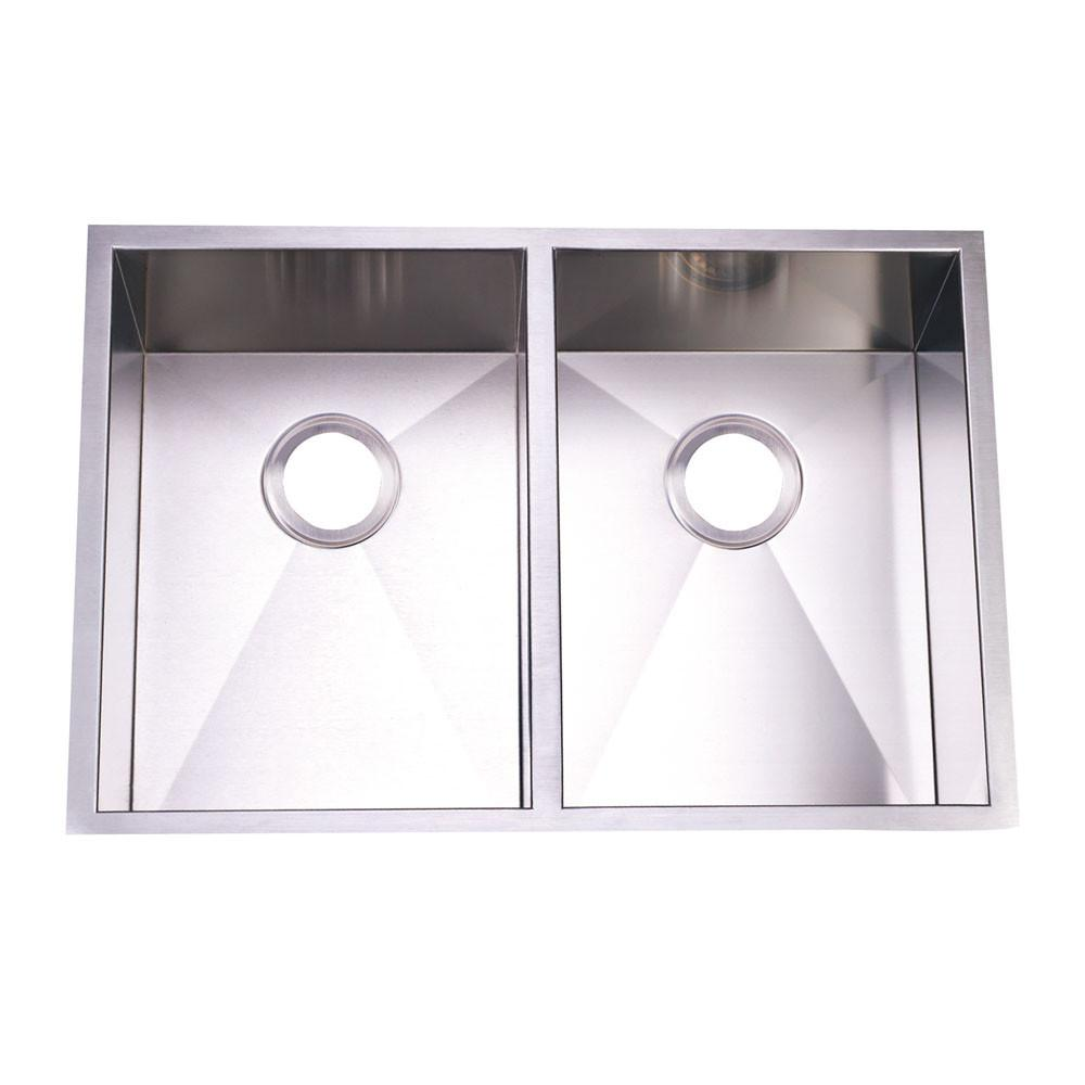 Brushed Nickel Gourmetier Double Bowl Undermount Kitchen Sink KUS292010DBN