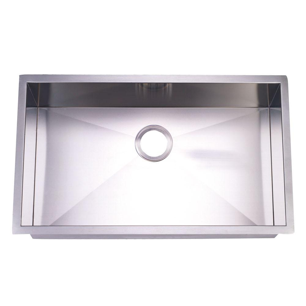 Brushed Nickel Gourmetier Single Bowl Undermount Kitchen Sink KUS321910BN