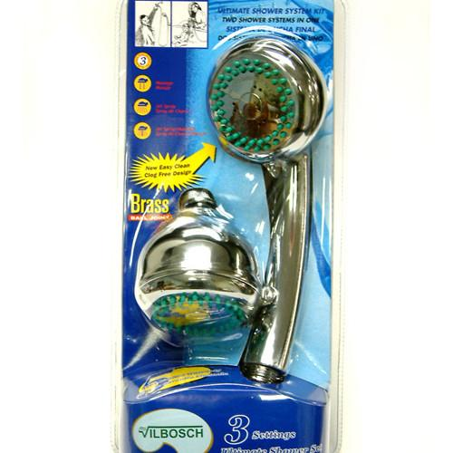 Kingston Brass Chrome Dual Shower Combo Kit with Stainless Steel Hose KX0132DB