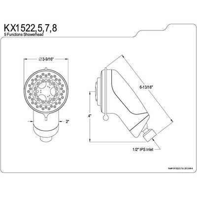 Kingston Brass White / Polished Brass 5 Setting Adjustable Shower Head KX1525
