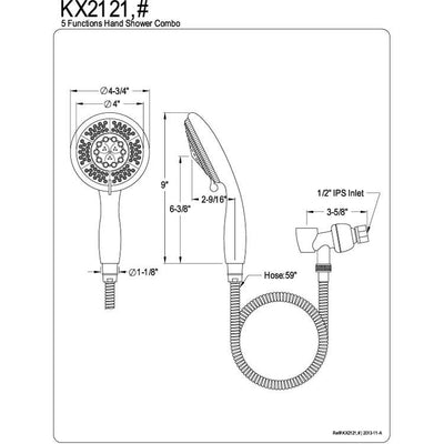 Kingston Brass Chrome 5 Function Handheld Shower Head Spray with Hose KX2121