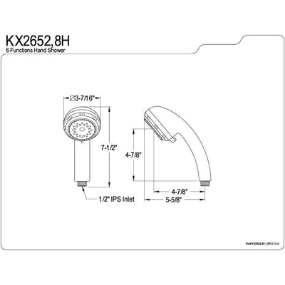 Kingston Satin Nickel 6 Function Hand Shower Head Faucet with Hose KX2658H