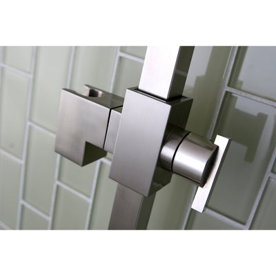 "Kingston Brass Satin Nickel 23.6"" Square Shower Slide Bar with Soap Dish KX8268"