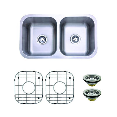 Stainless Steel Undermount Double Bowl Kitchen Sink Package w/ Strainer & Grid