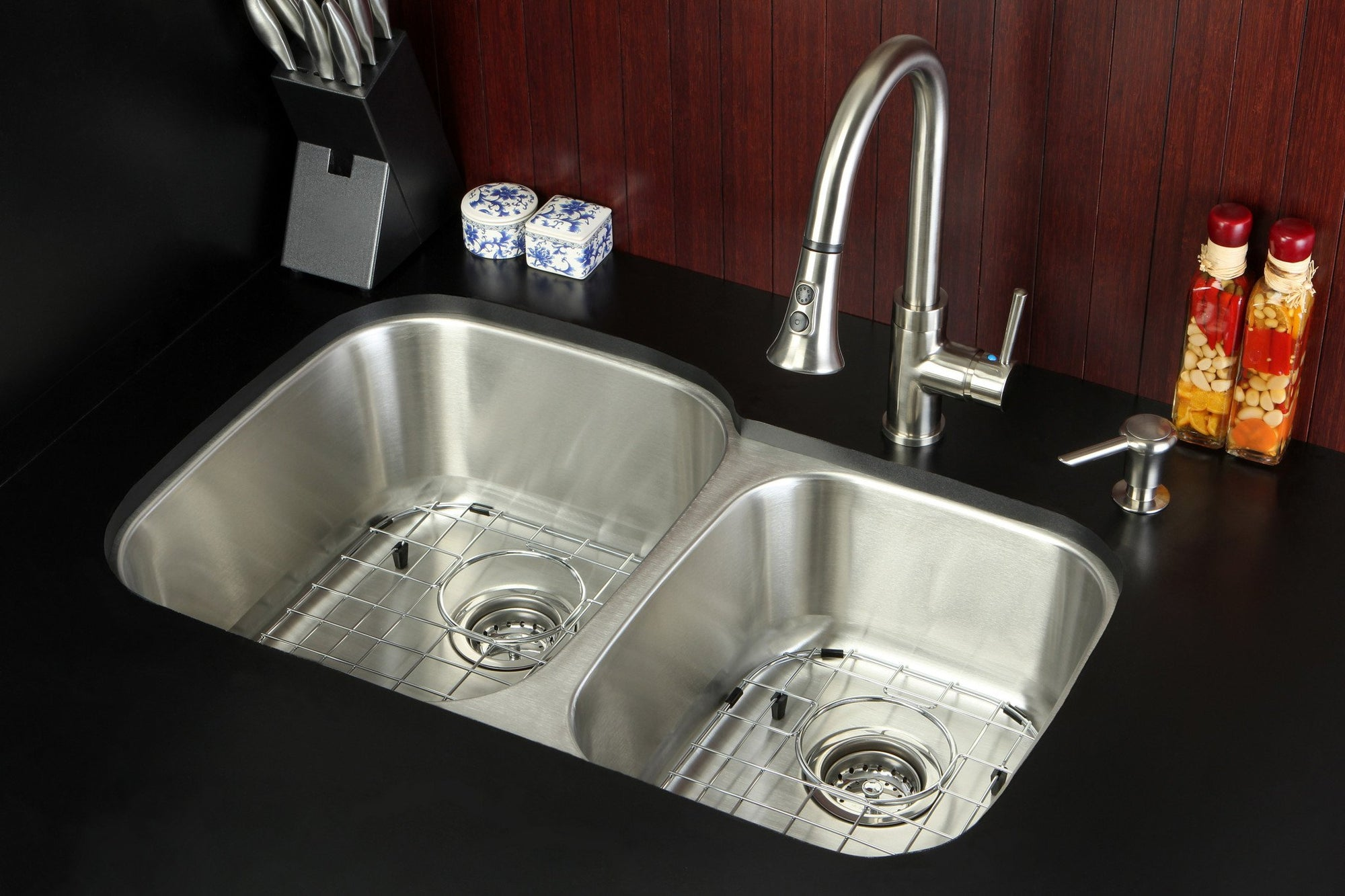 Stainless Steel 2 Bowl Kitchen Sink, Faucet, Strainer, Grid & Soap ...