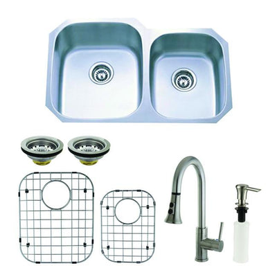 Stainless Steel 2 Bowl Kitchen Sink, Faucet, Strainer, Grid & Soap Dispenser