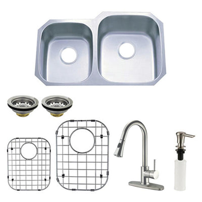 Stainless Steel Undermount Double Bowl Kitchen Sink, Faucet & Accessory Combo KZGKUD3221RHF