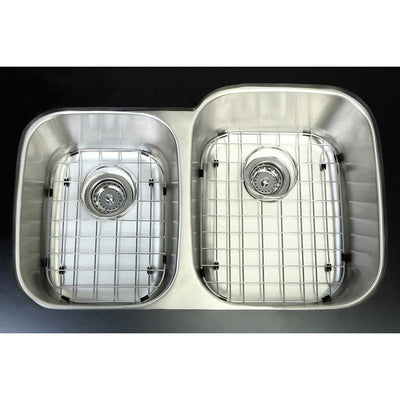 Stainless Steel Undermount Double Bowl Kitchen Sink Combo with Strainer and Grid