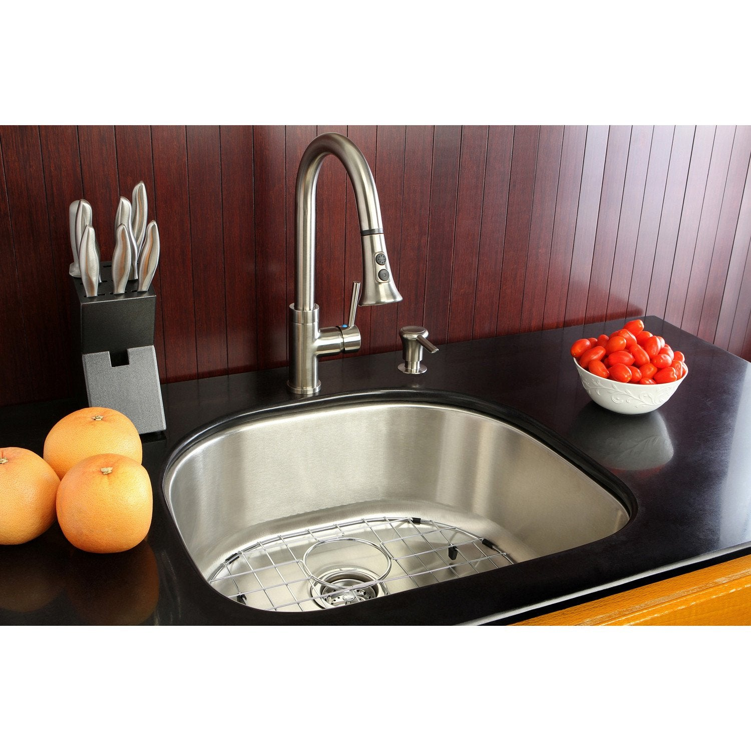 Undermount 1 Bowl Kitchen Sink Faucet Combo W Strainer Grid