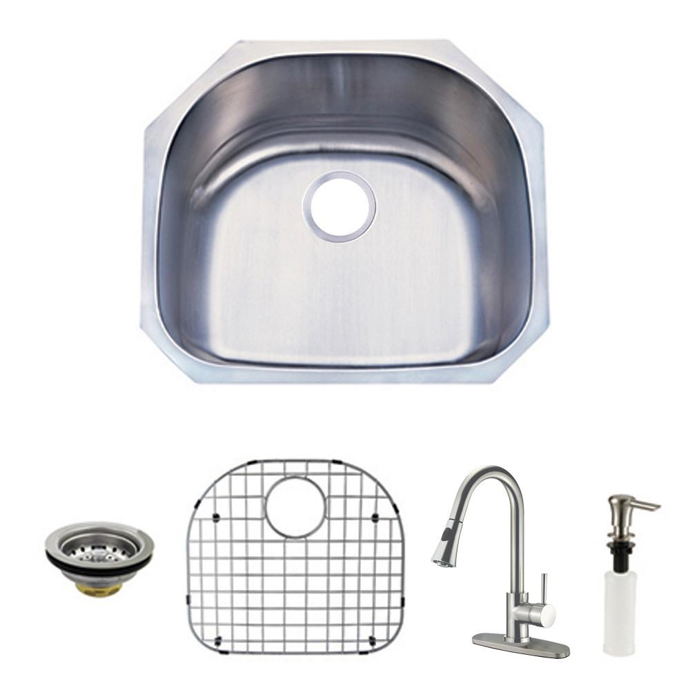 Undermount 1 Bowl Kitchen Sink & Faucet Combo w/ Strainer, Grid, Soap Dispenser