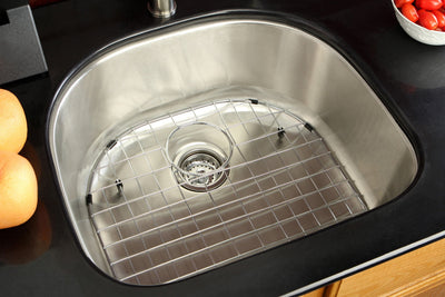 Undermount Stainless Steel Single Bowl Kitchen Sink Combo with Strainer & Grid
