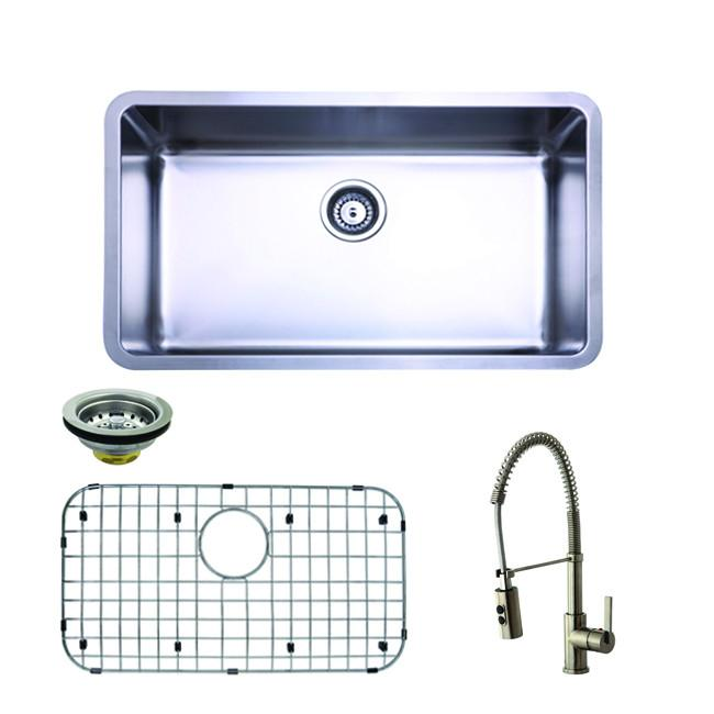 Undermount 1 Bowl Kitchen Sink Combo w/ Faucet, Strainer, Grid & Soap Dispenser
