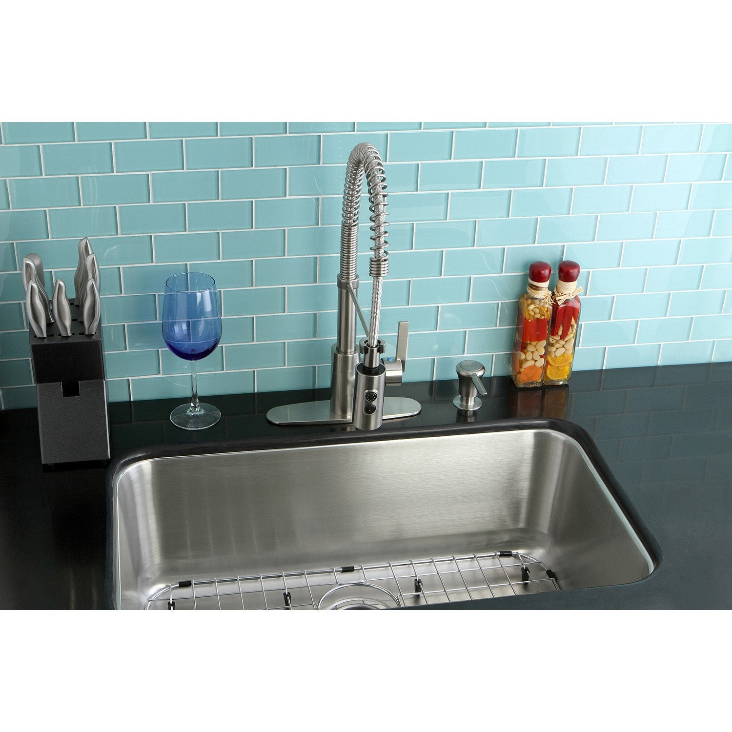 Undermount 1 Bowl Kitchen Sink Combo w/ Faucet, Strainer, Grid ...