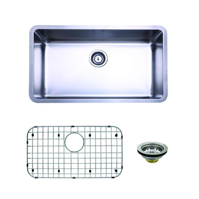 Stainless Steel Undermount Single Bowl Kitchen Sink Combo with Strainer and Grid